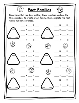 Math Game Multiplication - Fact Family Dice Game Math Dice