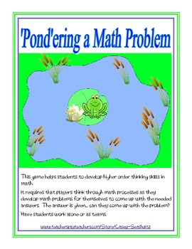 Math Game: Pondering a Math Problem (add, subtract, multip