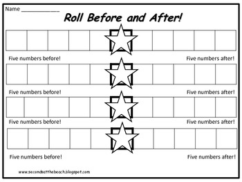 Math Game: Roll Before and After {Number Sense, Patterning