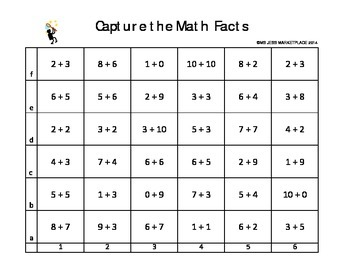 Addition Math Game for Centers