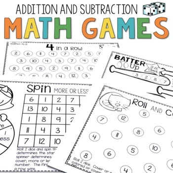 Math Games: Addition & Subtraction- Just Add Dice