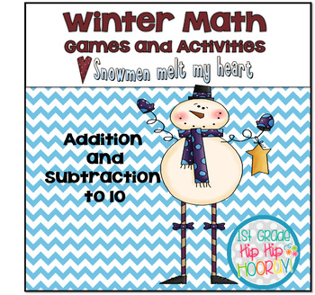 Math Games...Addition and Subtraction to 10...Winter Themed