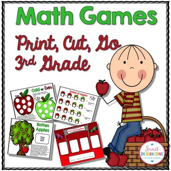 APPLE MATH GAMES - Print, Cut, Go 3rd Grade (MATH CENTERS)