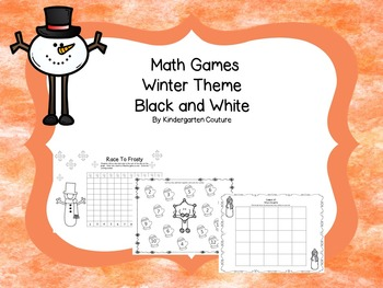Math Games Winter Theme Black and White (addition, subtrac