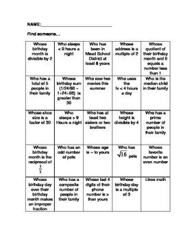 Math Get to Know You Bingo