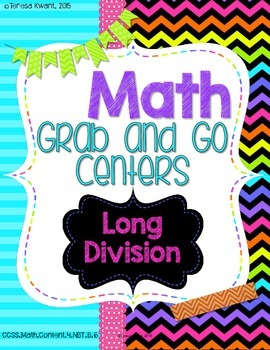 Math Grab and Go Centers: Long Division CCSS 4th Grade