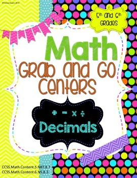 Math Grab and Go Centers: add, subtract, multiply, divide