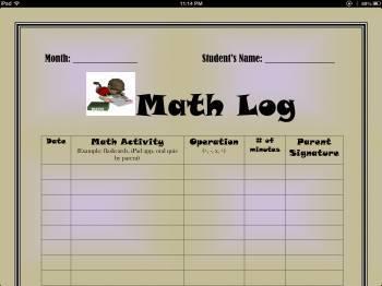 Math Homework Response Log