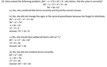 Math I/Algebra I Test # 2 (ANSWER KEY INCLUDED)