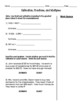 Math In Focus 4th Grade Chapter 2 Quick Review (Estimation