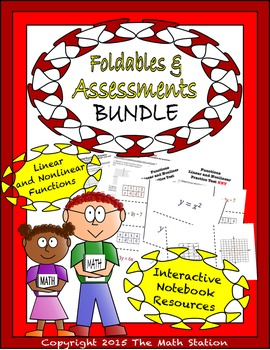 Math Interactive Notebook - Assessments & FOLDABLES Functi