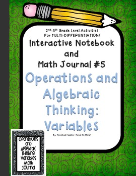 Math Interactive Notebook and Math Journal: Variables