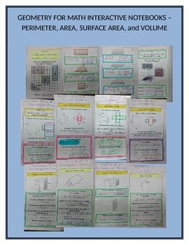 Math Interactive Notebook for Perimeter, Area, Surface Are
