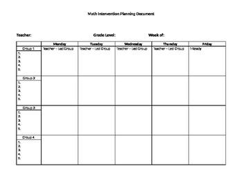 Math Intervention Planning Sheet
