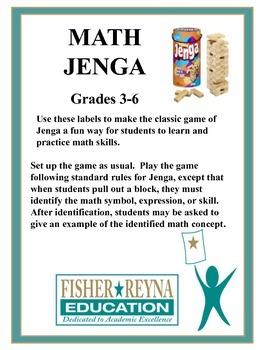 Math Jenga Grades 3-5