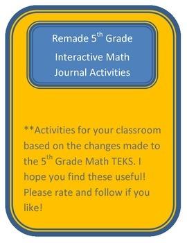 Math Journal Activities based on the new TEKS