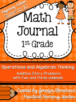 Math Journal - Addition Story / Word  Problems - Sums to 1