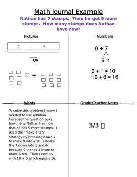 Math Journal Example