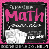 5th Grade Place Value Math Journal