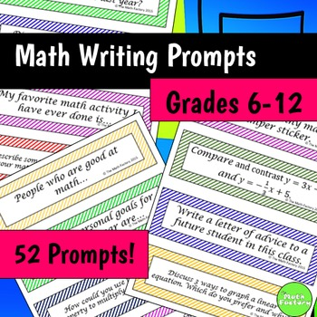 Math Journal Prompts 6th - 12th Grade - Great for Interact