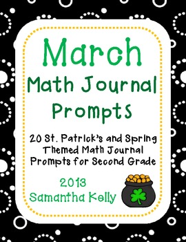 March Math Journal Prompts for 2nd Grade