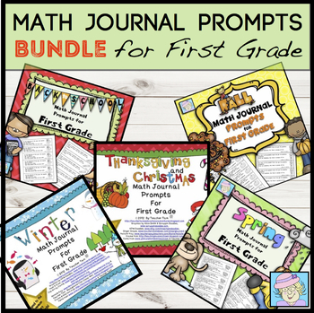 First Grade Math Journal Prompts for All Year COMBO Pack
