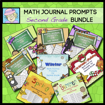 Second Grade Math Journal Prompts:  COMBO SET (Common Core Based)