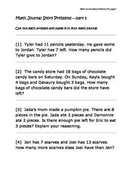 Math Journal Story Problems