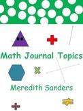 Math Journal Topics