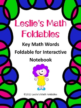Math Key Words Foldable for Interactive Notebooks