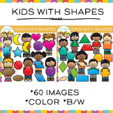 Kids With 2D Shapes Clip Art