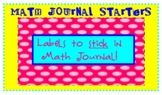 Math Label Journal Starters