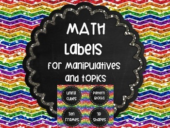 Math Labels Rainbow Chalkboard Chevron Glitter Organization