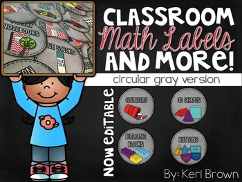 Math Labels and more - Gray Circular version