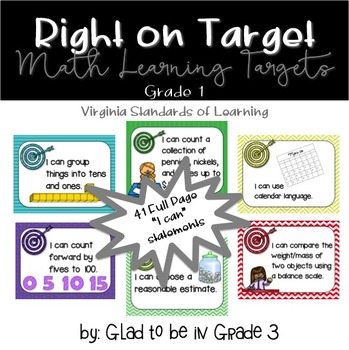 """Learning Targets: 1st Grade Math """"I Can"""" Statements (Full Page)"""