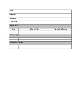 Math Lesson Planning Template