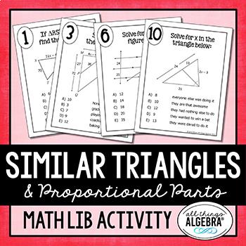 Similar Triangles and Proportional Parts Math Lib