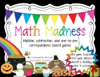 Math Madness Board Games: addition, subtraction, and one-t