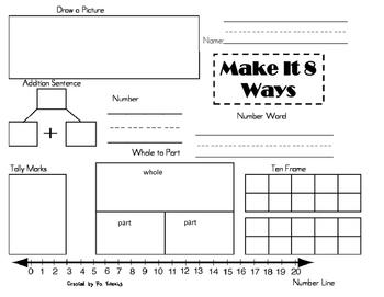 Math:  Make It 8 Ways (3 worksheets)