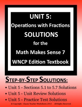 Math Makes Sense 7 WNCP Edition - Unit 5: Operations with