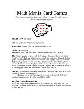 Math Maniac Card Games