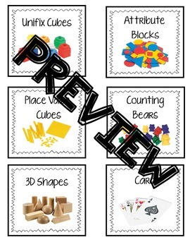 Math Manipulatives Bin Labels