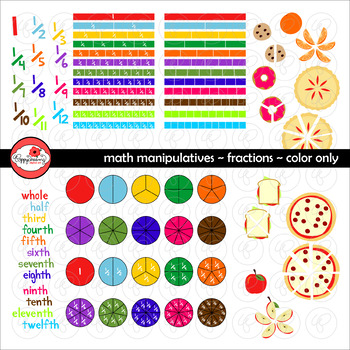 Math Manipulatives - Fractions Clipart by Poppydreamz (COL