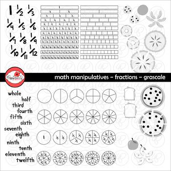Math Manipulatives - Fractions Clipart by Poppydreamz (GRA
