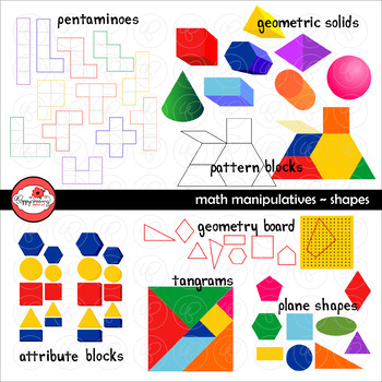 Math Manipulatives - Shapes Clipart by Poppydreamz (COLOR