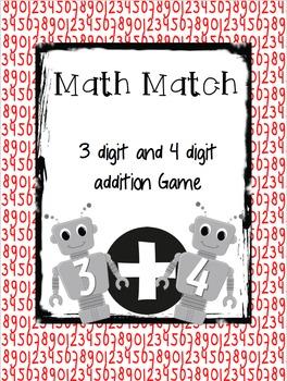 Math Match 3 & 4 Digit Addition