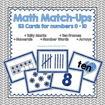 Math Match Up Cards - Winter theme tally marks, ten frames