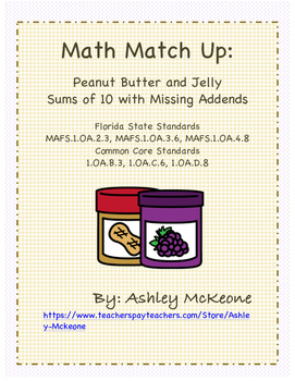 Math Match Up: Peanut Butter & Jelly Sums of 10 with Missi