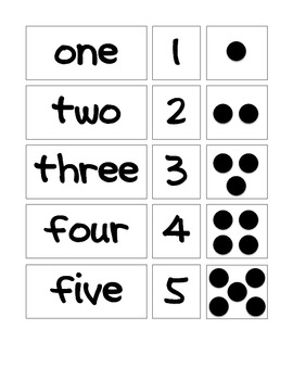 Math Matching: Numerals, Words & Dots 1-5