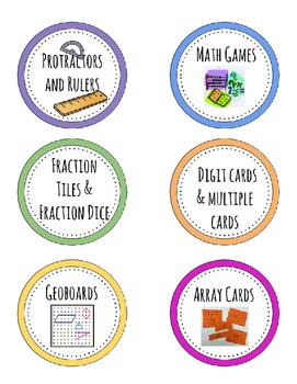 Math Materials (Labels)